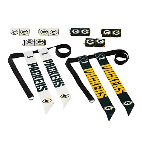 Franklin Sports Green Bay Packers Flag Football Set - 8 Flag Belts - 8 Player - Self Stick Tear-Away Flags - NFL Official Licensed - Franklin Green Sports