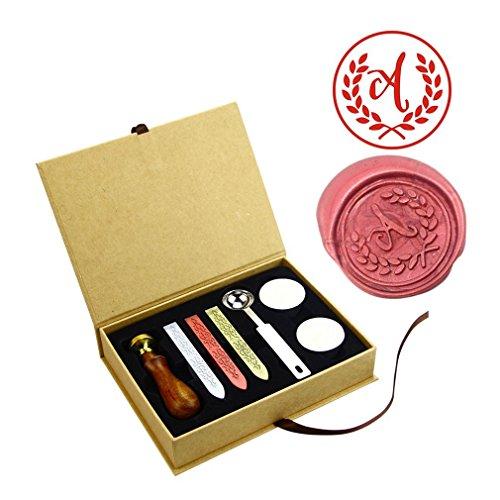 ZOVEE Monogram Alphabets Letter Wax Seal Stamp Kit Rosewood Handle Wedding invitation Card Metal Stamp - Copper Metal Stamp Pad