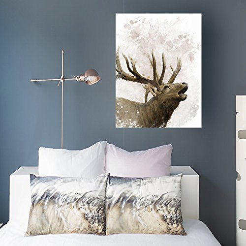 YeaSHARK Custom Canvas Prints Wall Art Digital Painting Bull Elk Wildlife Nature Deer 16x16 Inches Stretched Gallery Wrapped Home Decor Modern Artwork Painting (Elk Portrait)