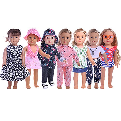 ZWSISU 18-Inch 7 Outfits Clothes For American Girl Doll Accessories Set American Doll Outfits