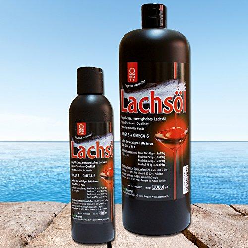 Lachsöl 100% rein für Hunde aus frischem Lachs in Premium-Qualität mit OMEGA 3 + OMEGA 6 Fettsäuren fischoel hund