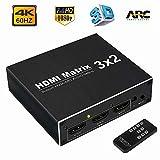 HDMI Matrix 3X2 hdmi Splitter 4K 60Hz Ultra HD 1080P 3 Inputs 2