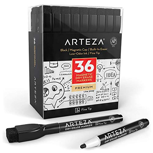 ARTEZA Magnetic Dry Erase Markers with Eraser, Pack of 36 (with Fine Tip),Black Color with Low-Odor Ink, Whiteboard Pens is Perfect for School, Office, or Home by  (Image #1)