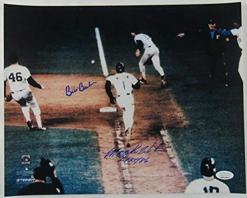 Mookie Wilson Bill Buckner Signed 11x14 1986 World Series Game 6 Error Photo w/ - Autographed MLB Photos