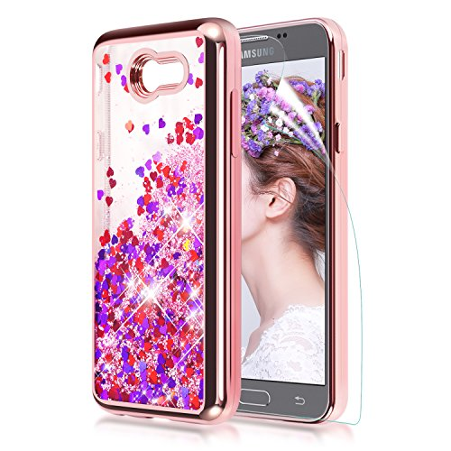 Samsung Galaxy J7 2017 Case,J7 Prime/J7 Perx/J7 V J7V/J7 Sky Pro/Galaxy Halo liquid Case w Screen Protector Quickstand Flowing Shiny Sparkly Bling Clear TPU Protective Case Compatible J7 2017,Rosegold