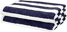 AmazonBasics Cabana Stripe Beach Towel - Pack of 2, Navy Blue