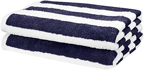 AmazonBasics Beach Towel - Cabana Stripe, Navy Blue, Pack of 2 - Striped Wrap Around Wrap