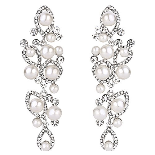 BriLove Silver-Tone Dangle Earrings for Women Simulated Pearl Vintage Style Marquise Shape Teardrop Hollow Chandelier Earrings ()