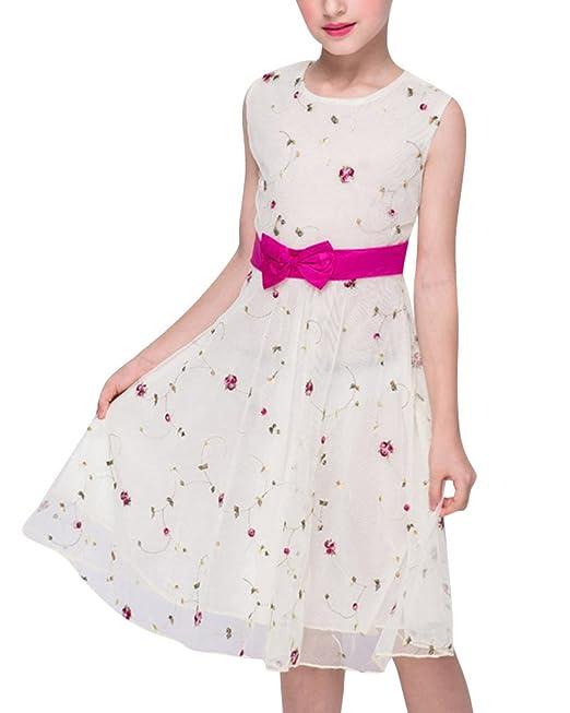 1a07ed5b1384 ZongSen Pizzo Floreale Senza Maniche Bowknot del Principessa Partito  Ragazze Bambini Vestito Giallo Chiaro 160CM  Amazon.it  Abbigliamento