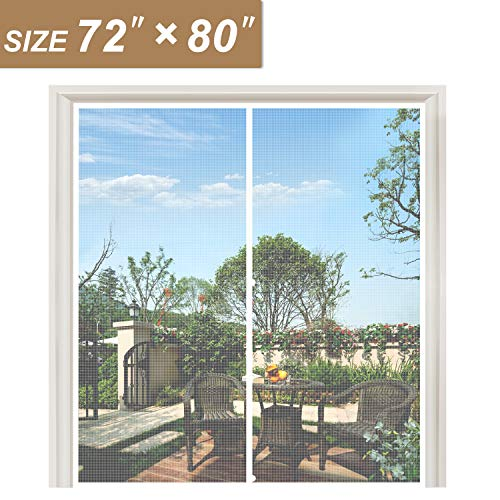 White Magnetic Screen Door 72 x 80, Strengthened Balcony Patio French Door Screen Curtain Fit Doors Size Up to 72