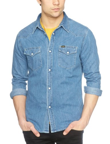 02c83847 Lee Men's Western Long Sleeve Classic Slim Fit Shirt: Amazon.co.uk: Clothing