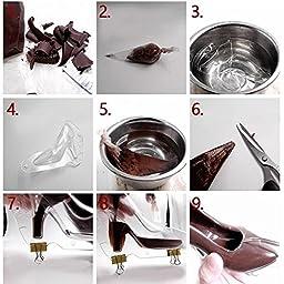 HULISEN Mini 3D High Heel Shoe Chocolate Candy Mold Bundle Molding Fondant Cake Mold Decorating DIY Home Baking, 4.7 inch Long (Small)