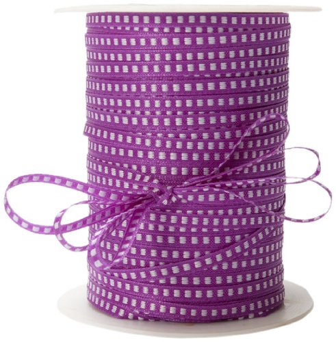 May Arts 1/8-Inch Wide Ribbon, Violet with White Stitched Center