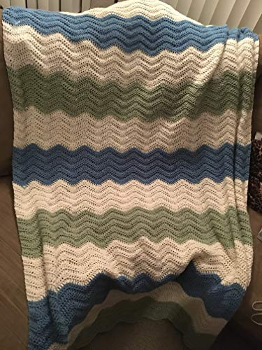Blue, Green, and White Crocheted Afghan