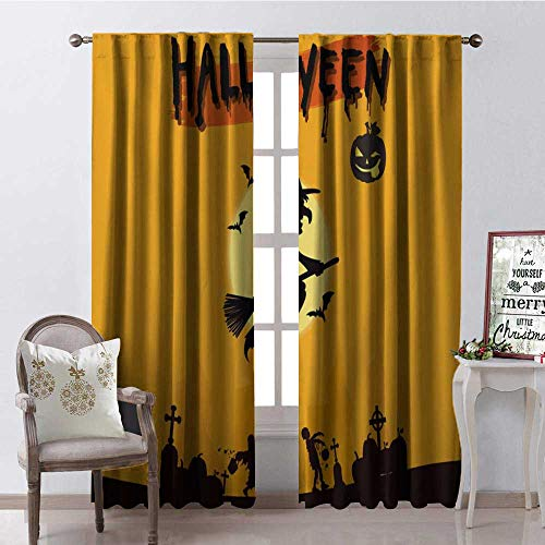 Hengshu Yellow Halloween Witch Thermal Insulating Blackout Curtain Blackout Draperies for Bedroom W84 x L96]()