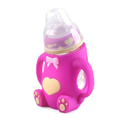 GAOLIXIA Bebé Calibre Ancho Oso De Dibujos Animados Vidrio De Borosilicato Botellas Pecíolo Anti-flatulencia