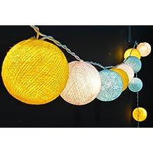 35x White, Yellow, Light Blue (1,9,23) Cotton Ball String Lights, Ball Lights, Cotton Lights, Fairy Lights, Cotton Ball Lights, Bedroom Lights, Party Lights