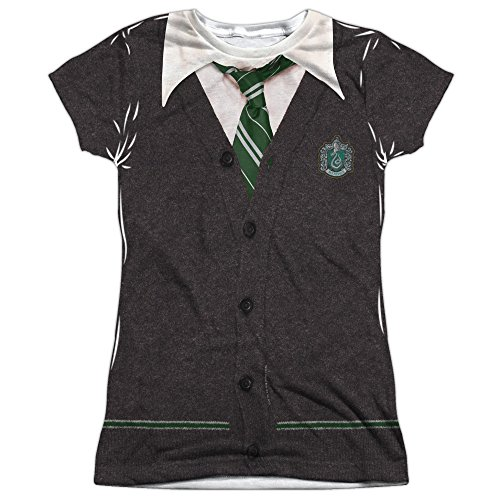 Harry Potter Slytherin Uniform Juniors Sublimation Polyester Shirt (White, X-Large) (Harry Potter Uniform Shirt)