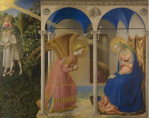 Oil Painting 'Fra Angelico-The-Annunciation,15th Century', 30 x 38 inch / 76 x 96 cm , on High Definition HD canvas prints is for Gifts And Bar, Hallway And Powder Room - Oakley Academy Sunglasses