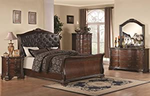 Maddison 5Pc Eastern King Sleigh Bedroom Set W/ Upholstered Headboard