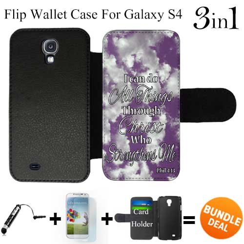 Philippians 4 13 Religious Bible Verse Inspirati Custom Galaxy S4 Cases Flip Wallet Case,Bundle 3in1 Comes with Screen Protector/Universal Stylus Pen by innosub