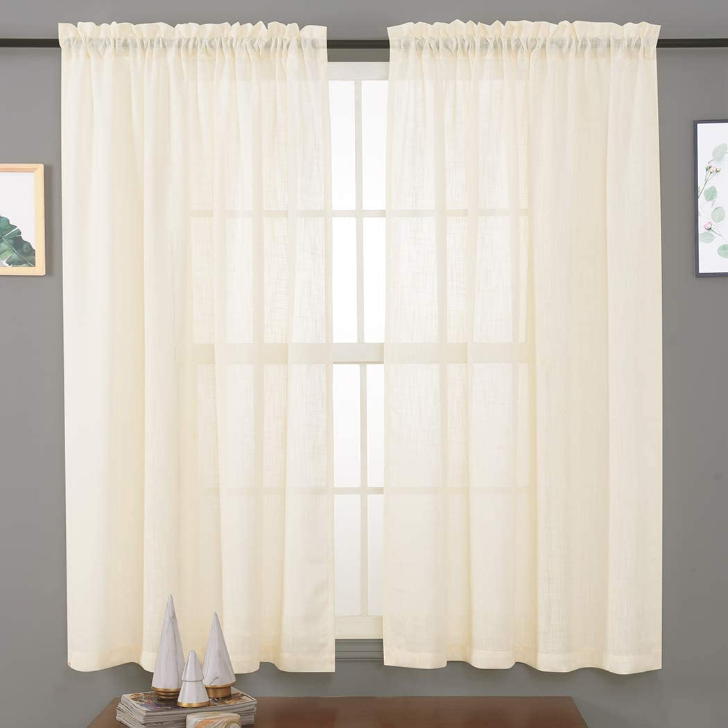 """Linen Textured Sheer Curtains 45 Inches, Rod Pocket Voile Drapes for Living Room, Bedroom, Window Treatments Semi Crinkle Curtain Panels for Patio, Villa, Set of 2, 52""""x 45"""", Beige."""