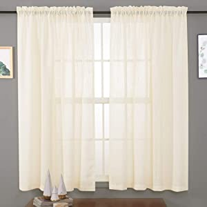 "Linen Textured Sheer Curtains 45 Inches, Rod Pocket Voile Drapes for Living Room, Bedroom, Window Treatments Semi Crinkle Curtain Panels for Patio, Villa, Set of 2, 52""x 45"", Beige."