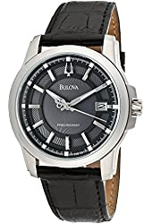 Bulova Men's 96B158 Langford Black Genuine Leather Watch