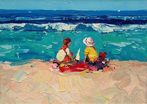Children on the Beach Art Prints Impressionist Modern Canvas and (Impression Framed)