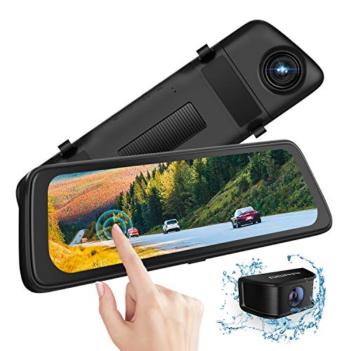 "DDPAI Mola E3 2.5K Mirror Dash Cam 1440P, 10"" Front and Rear Dual Dash Camera with Waterproof Backup Camera,IPS Full Touch Screen Video Streaming Rear View Mirror Camera, Parking Assistance【2021】"