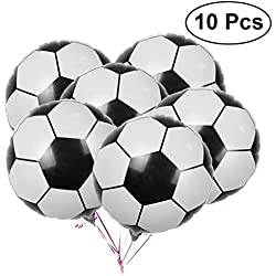 LUOEM Soccer Balloons Aluminum Foil Balloon Mylar Balloons for Birthday Party Decoration 2018 World Cup Party Pack 10PCS 18Inch