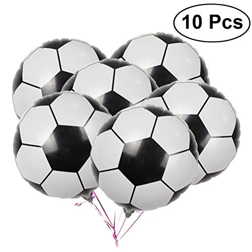LUOEM Soccer Balloons Aluminum Foil Balloon Mylar Balloons for Birthday Party Decoration 2018 World Cup Party Pack 10PCS 18Inch]()