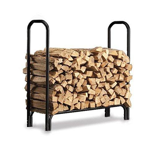 4ft Feet Outdoor Heavy Duty Steel Firewood Log Rack Wood Storage Holder Black by Clevr (Image #2)