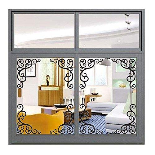 Medallion Corners (PVC Vintage Iron Style Wall Stickers 58x25cm Corner Line Wallpaper Mirror Sticker Home Kitchen Bathroom Bedroom Decor Crafts Type B)
