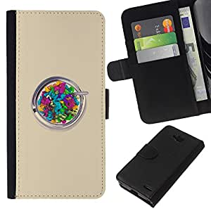 KLONGSHOP // Tirón de la caja Cartera de cuero con ranuras para tarjetas - Beige colorido artístico - LG OPTIMUS L90 //