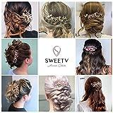 SWEETV Rose Gold Bridal Hair Comb Clip - Rhinestone