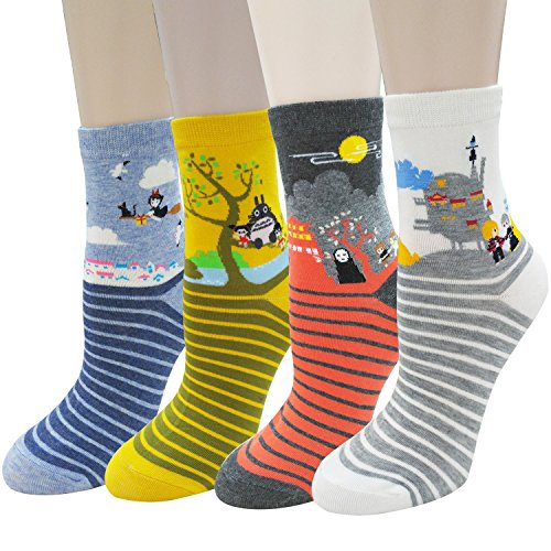 Cute Animal Design Womens Casual Comfortable Cotton Crew 4 Pack Socks
