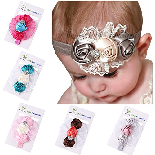 ROEWELL® 5 Pieces Baby's Headbands /Girl's Rose Flower/ Hair Bows/Hair bands(5 Pack) (Costume Direct New Business)