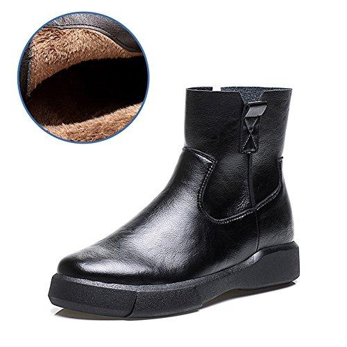 Stivaletti Alla Caviglia Flat Da Donna Btrada Con Chiusura A Zip Stivali Invernali In Cotone Nero1