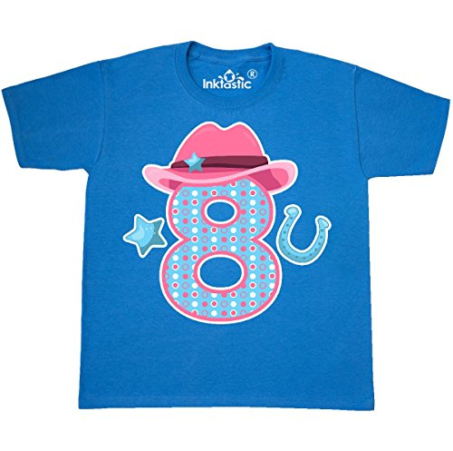 inktastic Eight With Cowgirl Hat Youth T-Shirt Youth Small (6-8) Pacific Blue