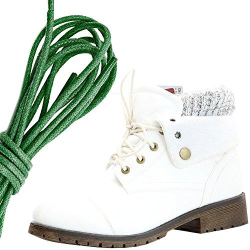 Dailyshoes Womens Boot Style Lace Up Maglione Stivaletto Alla Caviglia Con Taschino Per Porta Carte Di Credito Tasca Porta Soldi, Verde Scuro Bianco Pu
