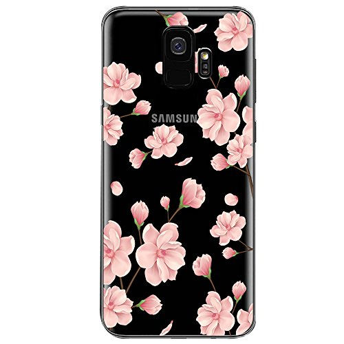 Case for Samsung Galaxy S9,Flyeri Crystal Fashion Floral Pattern Transparent Clear Soft silicone TPU Ultra thin Phone cover back cases For Samsung Galaxy S9 (8)