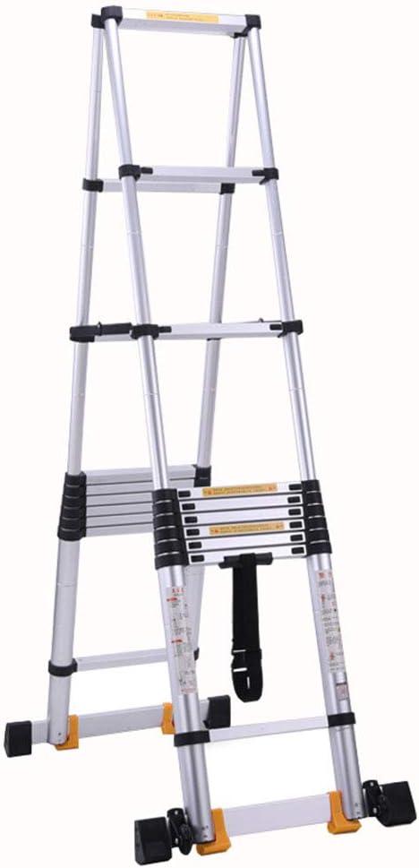 LJSJT Escalera Telescópica Aleación de Aluminio Engrosada Escalera Tipo A Escalable Barra de Equilibrio Polea móvil Familia al Aire Libre Peso del rodamiento 150kg 3.9 m de Altura: Amazon.es: Hogar