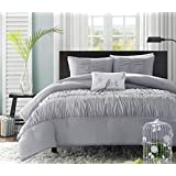 4 Piece Solid Color Ruffles Design Comforter Set Full/Queen Size, Featuring Woven Embroidered Leaf Bird Motif Comfortable Bedding, Contemporary Stylish Chic Girls Teens Bedroom Decoration, Grey