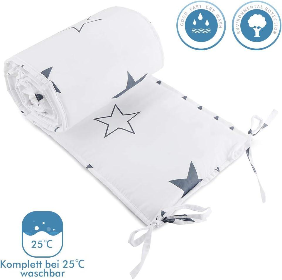 Crib Bumper Wrap Around Protection 100/% Cotton Crib Bumpers Bedding-180cm Luchild Baby Cot Bumper