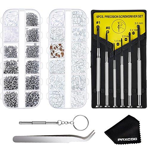 Paxcoo Glasses Repair Kit – 1220Pcs Glasses Screws and Nose Pads with 6 Pcs Screwdrivers for Glasses, eyeglasses and - Nose Screws Pad