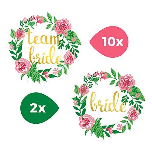 Sticker Crew® Gold Tattoo Ensemble Team Bride JGA de mariée Fleurs tatouages temporaires, Lot de 12
