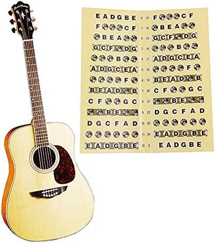 Pegatina para diapasón de guitarra de papel negro y amarillo, 24 ...