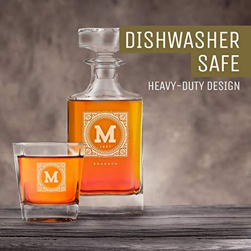 Personalized Whisky Decanter & Whiskey Glass Combo Lead Free : The Heirloom by Swanky Badger (Image #1)