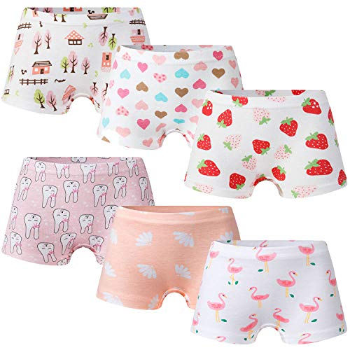 Growth Pal Little Girls' Shorts Panties Boyshort Briefs 6 Pack Soft 100% Cotton Underwear Toddler Undies